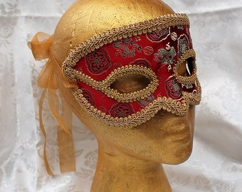 Red Men's Flexible Masquerade Mask, Red Satin Brocade and Leather Masquerade Mask with Gold Trim