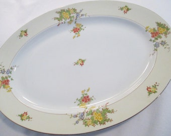 Vintage China Oval Serving Platter 16 inch