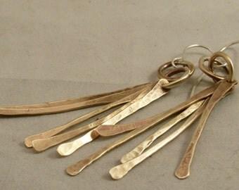 Brass fringe earrings