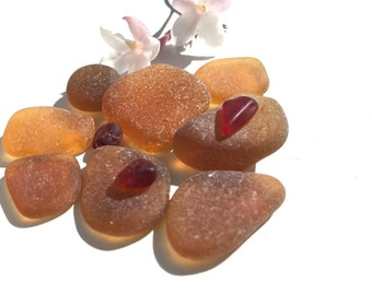 Genuine Seaglass, Beach Glass, Vintage, Antique Bottles, Real, Authentic, 1930s, Honey, Tiny Red
