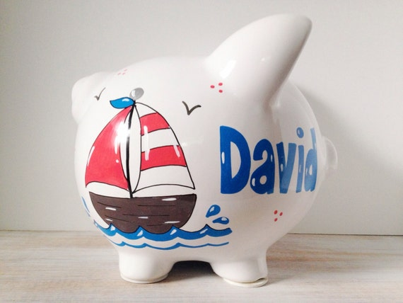 Personalized hand painted piggy bank with nautical theme - Nautical piggy banks ...