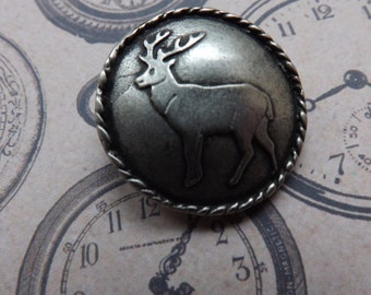 Stag button, deer button, pewter button, metal button, deer, stag, large button