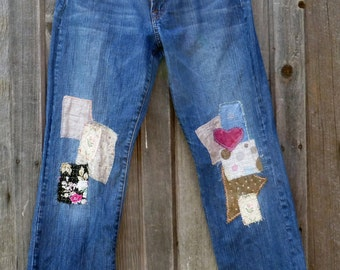 Upcycled Lucky Brand boyfriend style patched jeans size 8