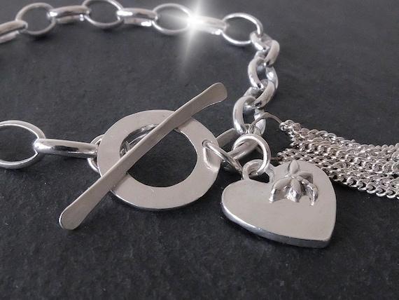 Personalised Silver Tassel Bracelet, Valentines Bracelet, Silver Bracelet with Heart Charm, Chunky Personalised Tassel Bracelet, Dragonfly