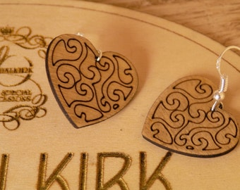 Wooden Heart Drop Earrings