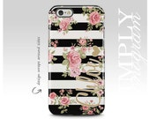 iPhone 6s Case , iPhone 6 Plus Case , iPhone 5s Case , Galaxy S6 , Galaxy Note 5 , Galaxy S7 Case - Floral & Black Stripes Monogram Case