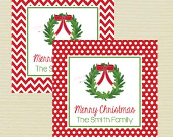 Personalized Christmas Stickers / Custom Christmas Wreath Gift Stickers / Holiday Gift Tag / Set of 12