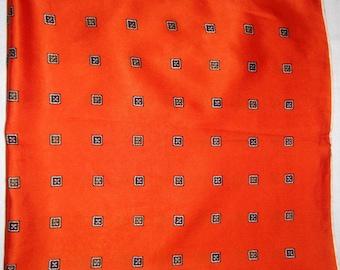 Coral red vintage silk scarf, geometric print