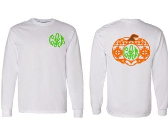 Aztec Monogram Fall Pumpkin Adult, Youth, Toddler Long Sleeve T-Shirt, Thanksgiving and Fall Monogram Clothing, Aztec Pumpkin Holiday Shirt