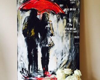 Red Umbrella Travel Original Watercolor Painting, Love Series of Wanderlust by Lana Moes, Original Wall Art, Ready to Hang