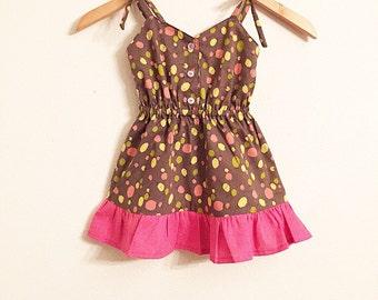 Girls Dress/Balloon Dress/Vintage/Spring/Pink/Yellow/Brown