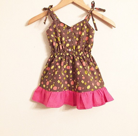 Sale!!!!!  Party Dress/Girls Dress/Balloon Dress/Vintage/Spring/Pink/Yellow/Brown