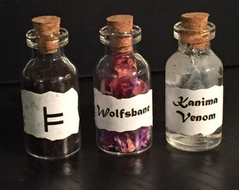 Teen Wolf Mountain Ash, Wolfsbane, Kanima Venom Vial Collectible Gift Vial Set