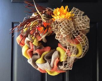 Fall Acorn Burlap Wreath