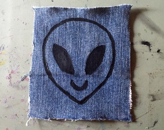 Alien Hand Painted Denim Patch