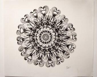 "Bow Peep Pen and Ink Mandala Illustration 17"" x 14"""