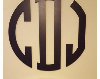 "Large 3 Letter Circle Monogram 18"", 24"", 30"", 36"" Painted Wood, Wooden Letters, Wooden Monogram, Nursery Children Decor, Home Decor"