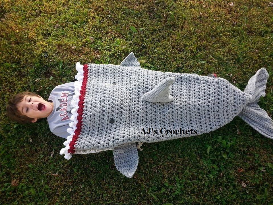 Free Crochet Patterns Shark Blanket : Crochet Shark Blanket Crochet Blanket Shark Blanket Sack