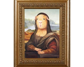 Guinea Pig Magnet, Mona Lisa, Refrigerator Magnet, Guinea Pig Gifts