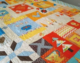 Handquilted Twin Size Bed Quilt - Knick Knack Sampler