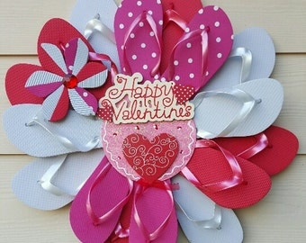Beautiful Handmade Flip Flop Wreath Valentine's Day Be Mine Hearts Red White