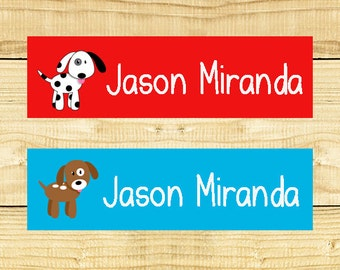 80 Custom Clothing Labels Iron on Labels Personalized Iron on Clothes Tags Daycare Name Labels School Camps - Uncut - Boy Dogs