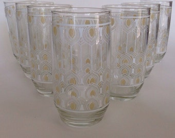 Mid Century Drinking Glasses Tumblers White and Yellow Vintage Kitchen Glassware Set of 7