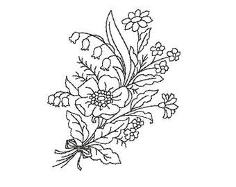 flower redwork embroidery design