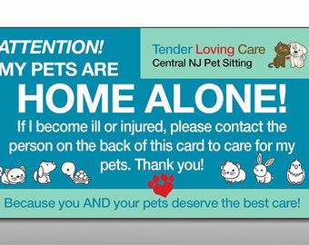 My Pets Dog Cat Are Home Alone Alert Emergency ID Wallet Card