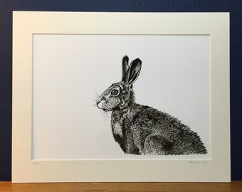 Hare - First Edition Japanese Ink Art Print from an original ink drawing. Black and white print.