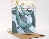 Blue Whales Flying Kites Art Card- Blue Whale Illustrated Greeting Card Art - from original watercolor painting.