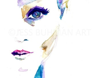 "Fashion Illustration, Watercolor Woman, Watercolor Painting Woman, ""Sophie"" by Jessica Buhman, 11 x14 or larger poster, Wall Art"