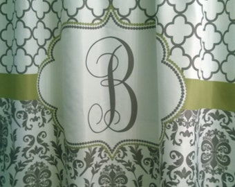Shower Curtain Fabric Damask Lattice 70, 74, 78, 84, 88, 96 inch long lengths Personalized Monogrammed for you, shown Cool Gray & Palm Green