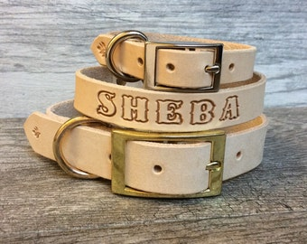 Personalized Leather Dog Collar with FREE Name