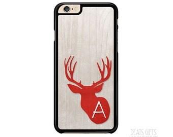 iPhone 6s Case, iPhone 6s Plus Case, iPhone 5s Case, iPhone 5c Case, Faux Wood, Red Deer, Monogram Gift, Christmas Gift (401)