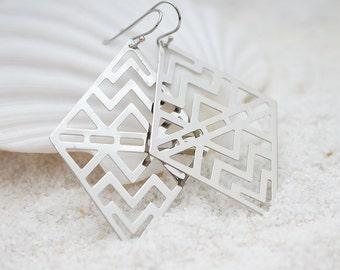 Chevron Filigree Chandelier, Retro, Geometric, Bohemian Chic Earrings, Modern Everyday Jewelry, Simple, Gift For Her, Earrings