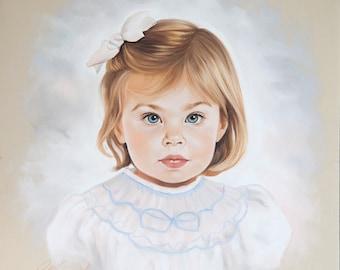 Custom portrait, Pastel portrait of a girl from photography, Handmade portrait, portrait on pastel