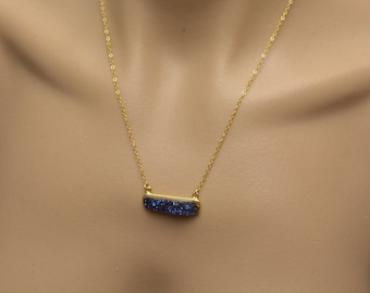 Druzy Bar Necklace Blue Gold Filled Chain Pendant Horizontal Rectangle Rough Stone Pendant Baguette