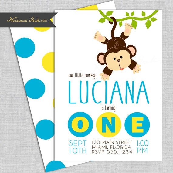 Mod Monkey Birthday Party Invitations, blue and yellow, jungle theme, 24 hr turnaround, printed or digital file diy, polka dot, first, 1st