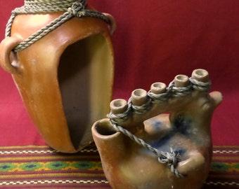 Vintage Mexican Folk Art Clay Pottery  Heron Martinez Mendoza Duck Candle Vessel Vase