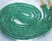 Natural ZAMBIAN EMERALD,14 Inch Strand,Rare Finest Quality 100%Natural Emerald Micro Faceted Rondelles,3-4.5mm Manufacturers Price Item