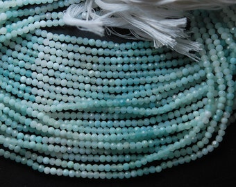 13 Inch Strand, AAA Super Cutting, AMAZONITE Faceted Faceted Rondelles 3mm