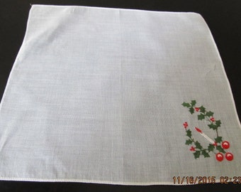 Vintage 1960's CHRISTMAS HANKIE ~ Candle and Holly
