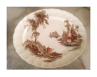 Antique Platter -The Old Mill- By Johnson Bros. Made In England