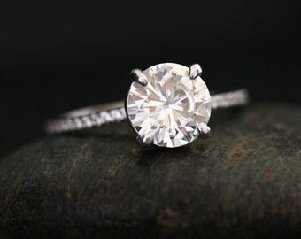 2cts Moissanite Engagement Ring Round 8mm and Diamond Half Eternity Brilliant Moissanite Engagement 14k White Gold Ring
