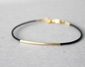 Gold bar Leather bracelet - Gold bar bracelet - black leather bracelet