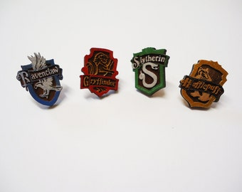 Handmade Wood Harry Potter Houses Stud Earrings - Hogwarts Gift Potterhead