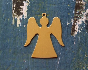 32mm Brass Angel With Ring Stamping Blank - Metal Blank - 24 Gauge - 6 Pack - 32mm x 28mm - Jewelry Stamping Blank - SGMSB-2034