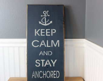 wooden sign, keep calm and stay anchored, subway art, wall hanging,rustic wood sign, hand painted sign, pink sign, inspirational wall decor