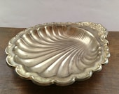Vintage metal tray Seashell tray Round serving tray Retro trinket dish